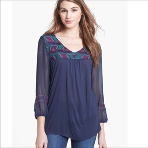 Lucky Brand Size 2x Embroidered tunic blue